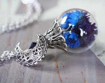 BLUE MOON Victorian Cloche Dried Flower Necklace, Glass Vial Dome Necklace on High Quality Silver Chain, Ready to Ship