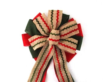 Red and Green Burlap Bow, Christmas Wreath Bow, Christmas Bow, Christmas Tree Topper Bow