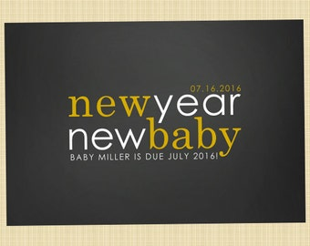 New Year pregnancy announcement card - Happy New Year greetings card (new year, new baby)