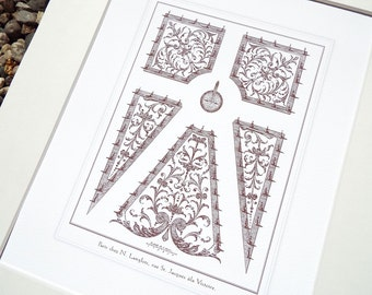 Antique French Garden Plan 14 In Sepia Archival Print on Watercolor Paper