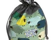 Knitting Project Bag - LIMITED Edition, Medium, Drawstring Bag, Fancy Sheep on Green, Handmade, Knitting Bag, Shawl Bag