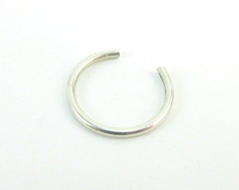Argentium Silver Fake Nose Ring Sterling Silver Ear Cuff Faux Nose Hoop Non-Pierced Earring 20 Gauge Helix Cuff Hoop Cartilage Hoop