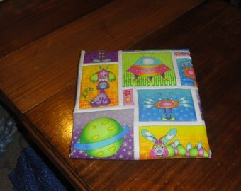Aliens and Space Creaturess in the night, Bright Neon colors.   Modern, Colorful and Bright Patchwork Baby Quilt