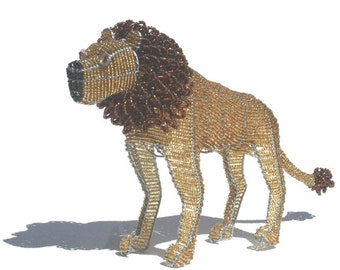 LION -KING Of The Beasts - Hand crafted from Wire and Seed Beads - Authentic African Art- Bring Africa into your Home