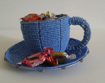 TEACUP and  SAUCER From AFRICA Decorative - Funky Hand crafted item made from beads and wire- decor item for home, coffeeshop or restaurant.