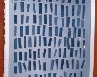 Abstract art, watercolor, mixed media, blue and grey, gray, rectangles, shapes, simple, square, textured, graphic, cut paper