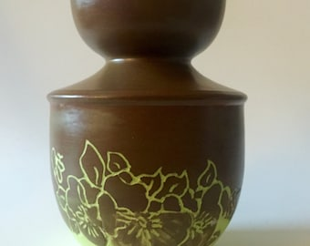 Small Brown and Green Vase