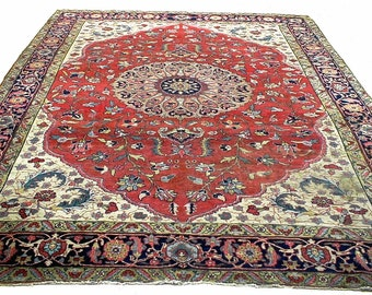 Magnificent Rare 1880's Antique Persian Tabriz Rug 9x11