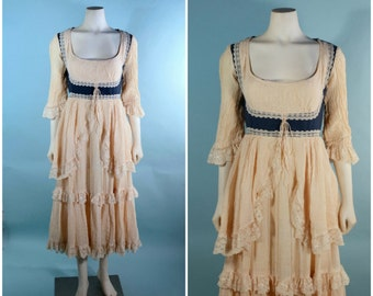 "Vintage Gunne Sax Corset Lace + Gauze Ruffle Wench Pirate Boho Dress/Bohemian Gypsy Hippie Music Festival Faire Midi Dress 24"" Waist SZ XS"