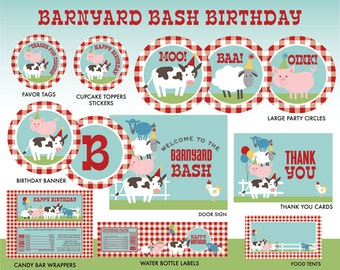 INSTANT DOWNLOAD - Farm Birthday Party Printables, Barnyard Party Package, Farm Printables Decorations