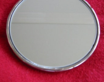vintage silverplate pocket/purse mirror by R. Morgan Collection . . . excellent condition . . in original flannel pouch . . circa 1950's