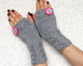 Mint Handknitted Mittens Cozy Fingerless Gloves Mint, Fingerless Gloves, button Gloves, Gloves Teens, Gloves Mittens, Mitts, Winter