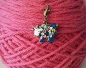 Colorful Blue Sheep Progress Keeper-Project Bag Zipper Charm-Purse Charm-Enamel/Bronze/ Knitting Marker-Blue/Multicolored Sheep Charm-