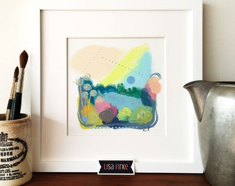 Lush spring abstract landscape art print