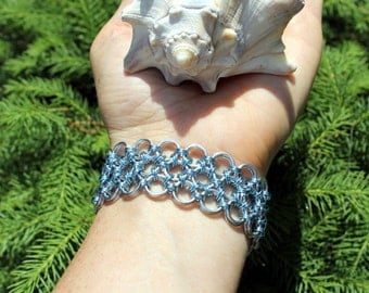 Japanese Lace Chainmaille Bracelet, Turquoise and Shiny Silver, Chain Maille, Metal Lace, Mail, Durable