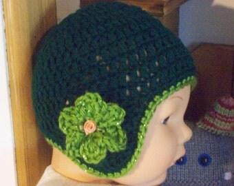 Crocheted,Hat,Babies,Girls,Infants,Photos,Green,Sparkly,Gift,Newborn -3 Months,Shower,Flower