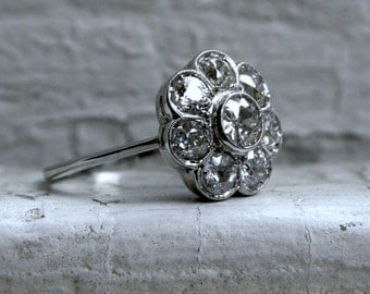 RESERVED - Antique Platinum Diamond Cluster Wedding Engagement Ring - 2.25ct.