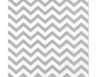 100 Silver Gray Chevron Paper Bags, 6 x 9 inches with Chevron Stripes on White Paper - Flat Merchandise Bags