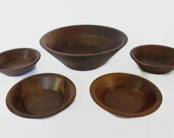 Mid Century Modern Walnut Bowl Set Vintage Wooden Staved Salad Bowls