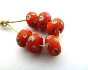 orange and ivory spots, handmade lampwork glass beads uk