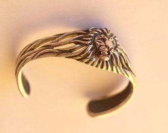 Lion head sterling silver bracelet