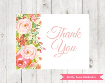 Watercolor Flower Baby Shower Thank You Note | Boho Baby Shower Note Card | Printable Baby Sprinkle Thank You | Larissa Collection