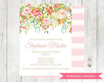 Floral Baby Shower Invitation | Modern Baby Shower Invite | Watercolor Baby Sprinkle Printable