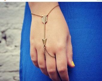 FALL SALE arrow slave bracelet, arrow hand chain, arrowhead bracelet, bracelet ring, ring bracelet, tribal bracelet
