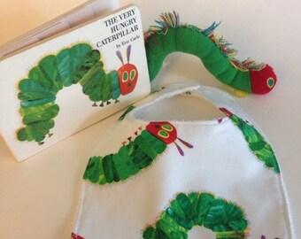 ON SALE The Very Hungry Caterpillar baby bib, the Very Hungry Caterpillar bib, newborn bib, newborn baby bib,  kid's book bib, baby book bib