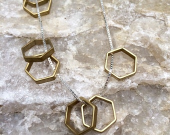 brass HEXAGONS sterling silver layering necklace