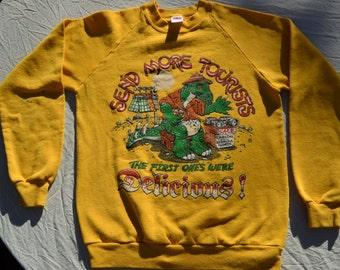 1987 Tourists Mexico Arizona Nevada Vintage Shirt Size M Long Sleeve Sweatshirt Dinosaur Lizard