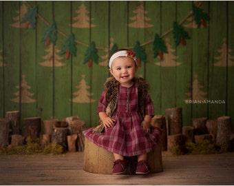 5ft x 5ft + Photography Backdrop - O Christmas Trees Backdrop, Christmas Backdrop, Holiday Backdrop, Wood Backdrop
