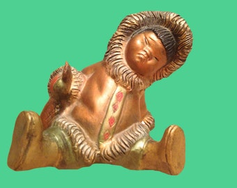 Inuit Figurine Made in Spain Red Clay Painted Gold