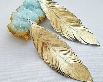 Feather Earrings, Large Earrings, Lambskin, Leather Earrings, leather Feather Earrings, Gold Earrings, Silver Earrings, Bohemian Earrings