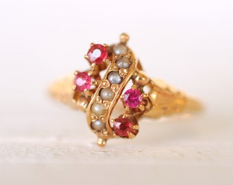 SALE- 1800's Antique Victorian 10k yellow gold Ruby and Split Pearls ring / engagement wedding jewelry
