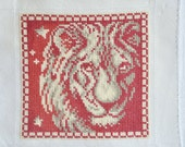 Finished / Completed Cross Stitch - Lanarte - Red Signs of the Zodiac: Leo (34976) crossstitch counted cross stitch