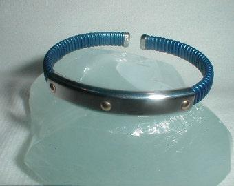 Vintage QVC Milor Italy Cuff Bracelet Stainless Steel & 18K Gold *Modernist*