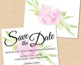 Watercolor Pink Peony Rose Floral Save the Date (5.5 x 4.25): Text-Editable in Word®, Printable on Avery® Postcards; Instant Download