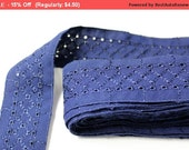 SALE 3 YARD Blue Embroidered Ribbon for Crafts, Sewing , Accessories