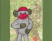 ACEO, ATC, Art Trading Card, Original, Collage, Mixed Media, Hand Drawn, Kid Friendly, Sock Monkey