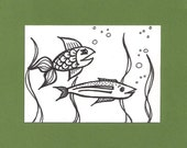 ACEO, Fishie, Fish, ATC, Art Trading Card, Original Drawing, Ink