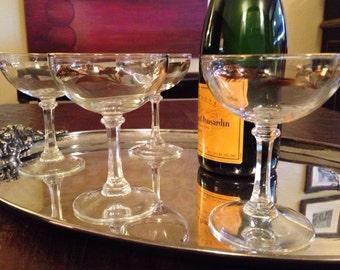 4 Vintage Champagne Coupe Glasses - Set of Four