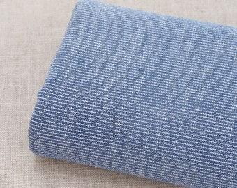Summer Yarn-dyed Cotton Linen Fabric, soft fabric, Simple blue stripe, Linen fabric 1/2 yard  (QT858)