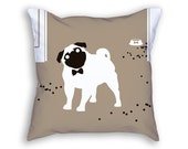 Pug Pillow - Brown Pillow - Decorative Pillow - Pug Decor - Pug Gift - Animal Pillow - Cute Pillow - Puggle Pillow - Pug Lover - Dog Pillow