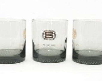 Set of 6 Vintage Cocktail Glasses, Security National Bank, Denver Colorado, Bar Glasses