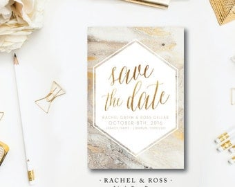 Rachel and Ross Suite Design | Wedding Save the Date | Gold and Marble Invitation | Printed by Darby Cards Collective