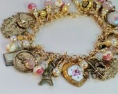 SALE! Paris cha cha charm bracelet, guilloche heart pink white gold, pearl rhinestone French charm dangle bracelet, amour oui, Eiffel Tower