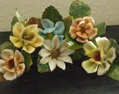 Vintage Lot Of 7 Porcelain Flowers with Foil Leaves on  Stem