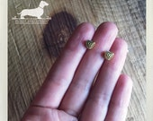 Gold Heart. Post Earrings -- (Love, Super Small Studs, Simple, Vintage Style, Cute, Bridesmaid Gift, Romantic Gift, Gold Studs, Small Heart)