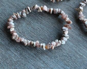 Rhodochrosite Stretchy String Bracelet B85